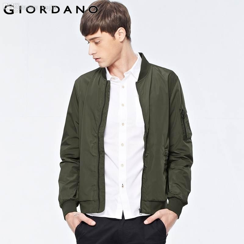 Fall Giordano Men Solid Light Jacket Mens Zip Jacket Outdoor Wear ...