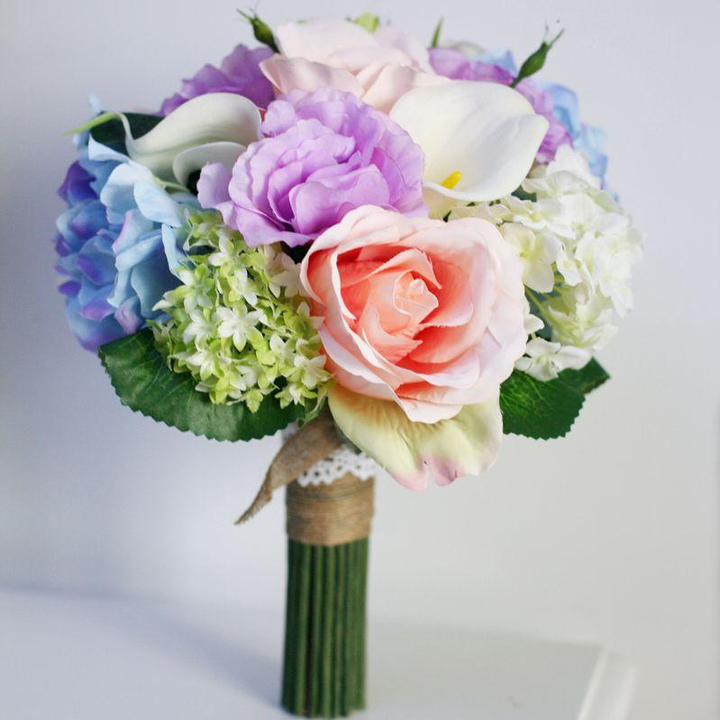 Vintage silk flowers blue artificial wedding bouquets pink ivory 5 mightylinksfo Images
