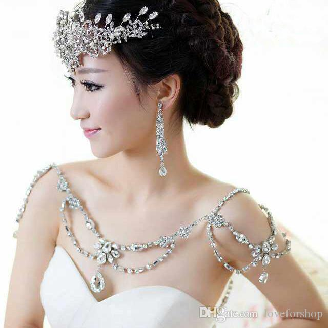 2016 cheap bridal crystal shoulder necklace cheap wedding for Jewelry for halter wedding dress