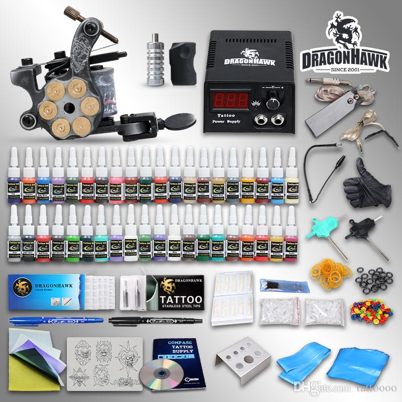 Beginner tattoo kits coils machine guns inks power supply for Cheap tattoo kits amazon