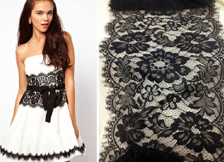 Lace High Quality Scalloped Edge Soft Raschel Eyelash Lace Trim, Black or Off White - 3 Meters/Lot 28cm Width - Free Shipping