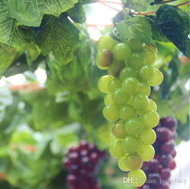 Artificial Big Grapes String With Grape Vine Leaf Set For Home Decor Garden Wall Hanging Ornament