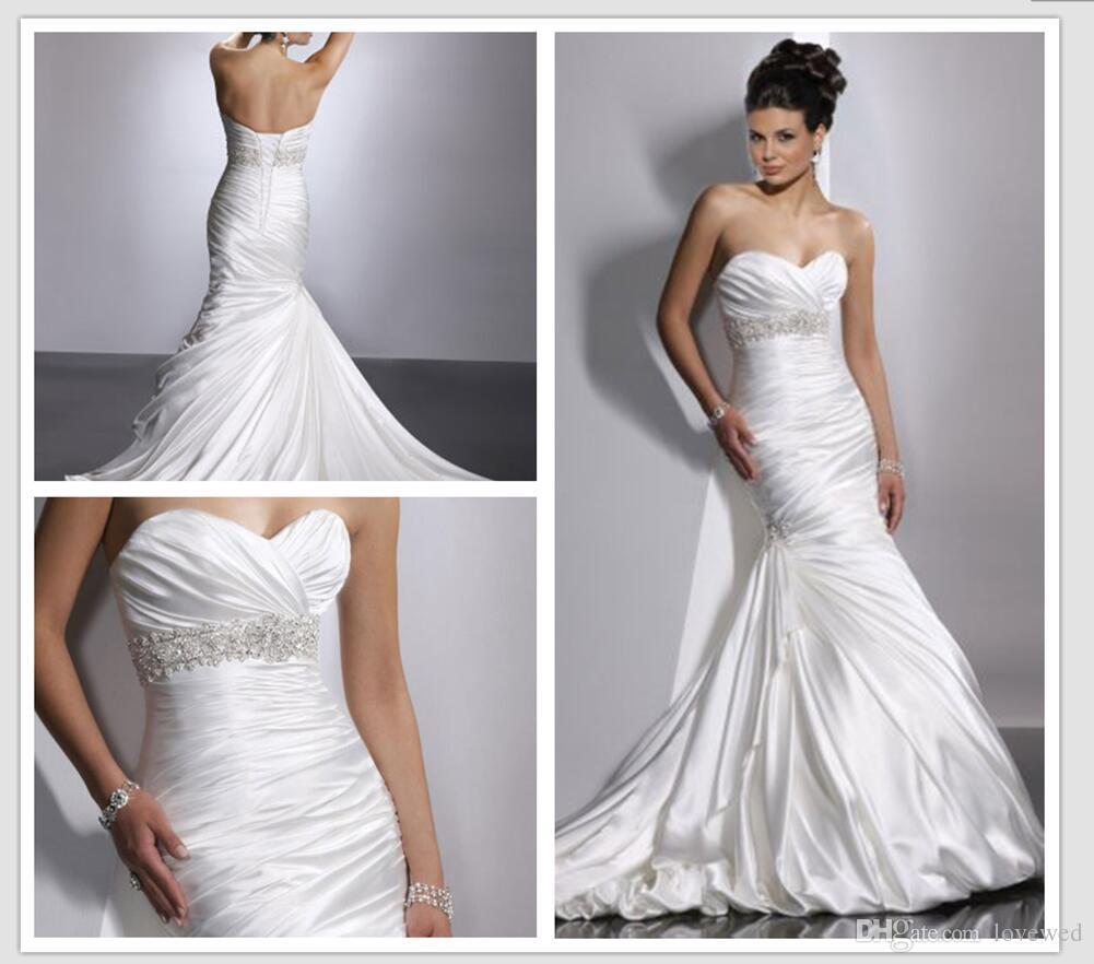 2016 sweetheart neckling ruched satin meimard bridal dress for Wedding dresses for big hips