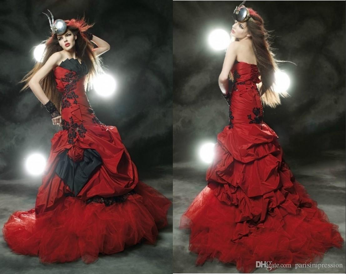 Discount Vintage Red Black Gothic 2015 Wedding Dresses