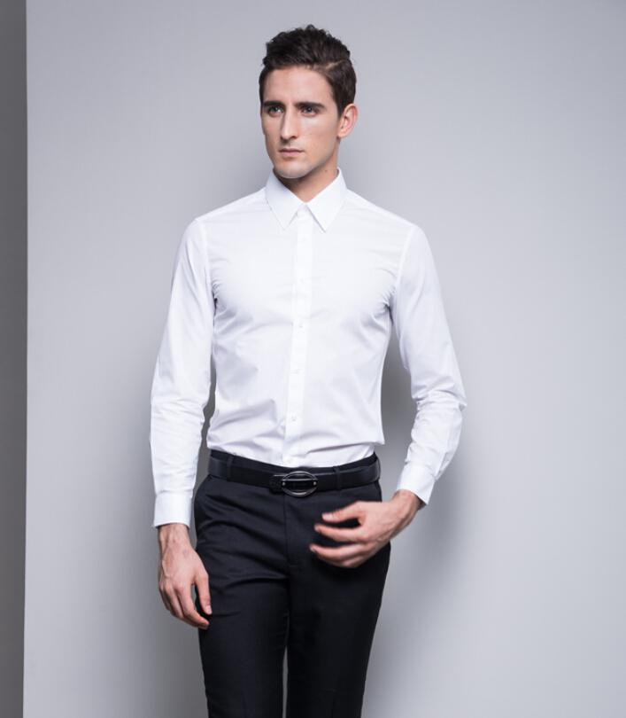 Business Suits Men's Shirt Solid Color Men's Long-sleeved White ...