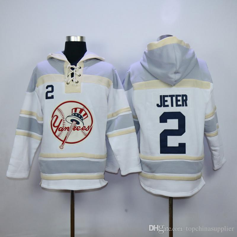 Online Cheap Yankees #2 Derek Jeter Lace Up Pullover Hooded ...