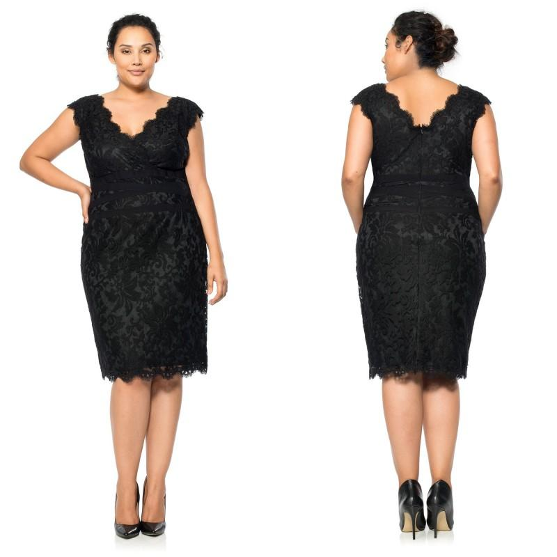 Sexy Black Lace V Neck Plus Size Cocktail Dresses 2015 Capped ...
