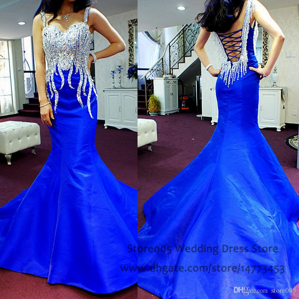 Bling mermaid royal blue evening dresses corset back for Bling corset mermaid wedding dresses