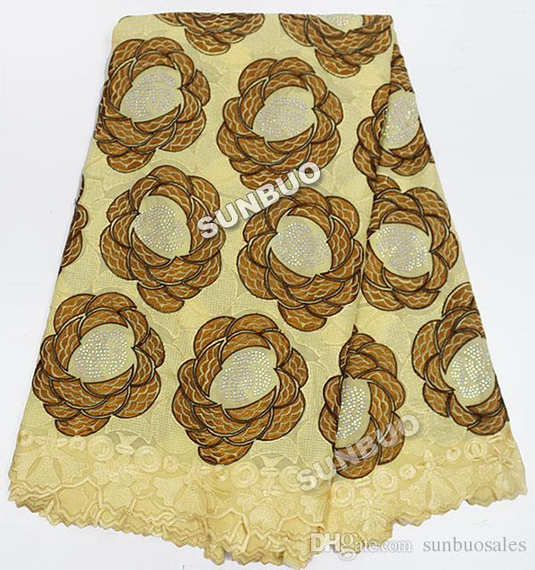 Large quantity of stones will never fall off 5 yards big heavy African Swiss lace African voile lace fabric high quality cotton 100%