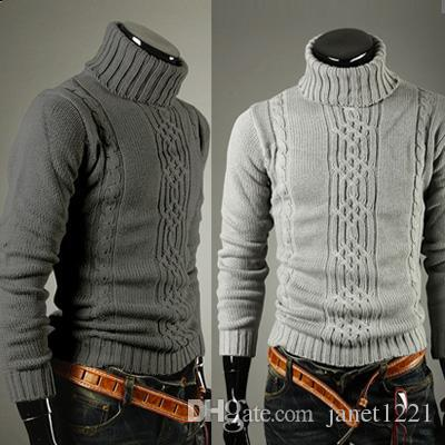 2015 Winter Men Cool Fashion Warm Sweaters Turtle Neck Jacquard ...