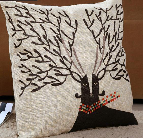Shabby Chic Deer Pillow : Deer Head Cushion Cover Cute Animal Decorative Throw Pillow Cotton Linen Pillowcase Shabby Chic ...
