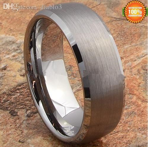 wholesale wedding band ring tungsten mens jewelry titanium color brushed center jewelry ring jewelry class rings cheap jewelry ring online with 2637piece