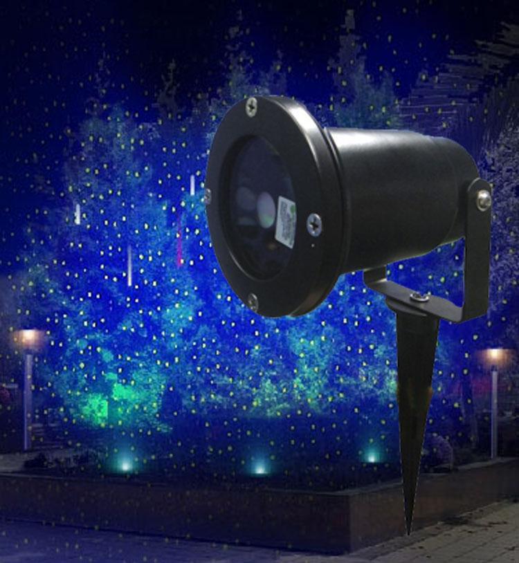 Green Laser Blue LED Background Waterproof Outdoor Holiday Laser Projector  Landscape Stationary Stars Pattern Light Garden Home Xmas
