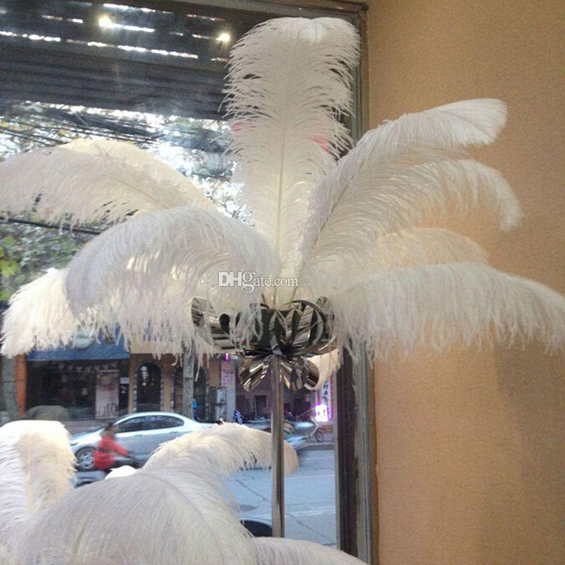 White ostrich feathers table centerpieces wedding birthday