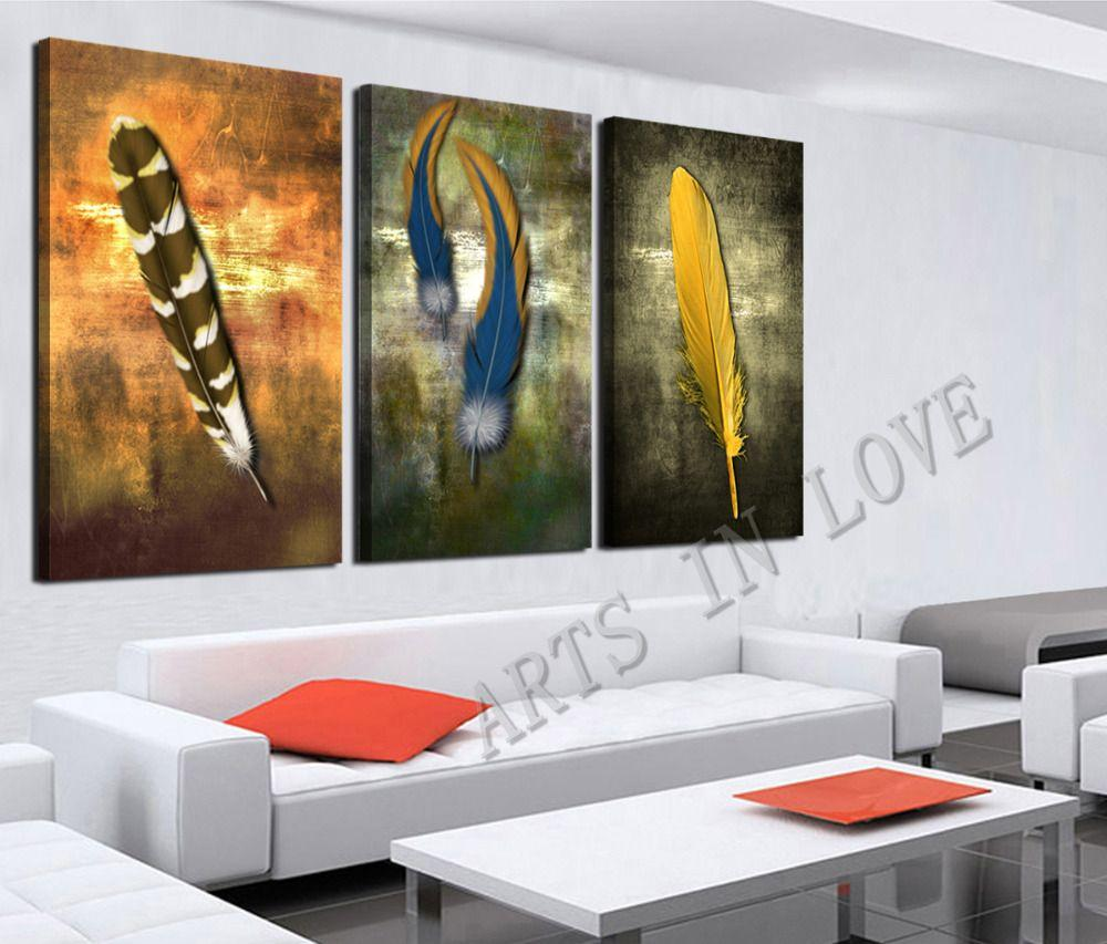Oil Painting For Living Room Discount 3panelmodern Household Decorates Yellow Feathers