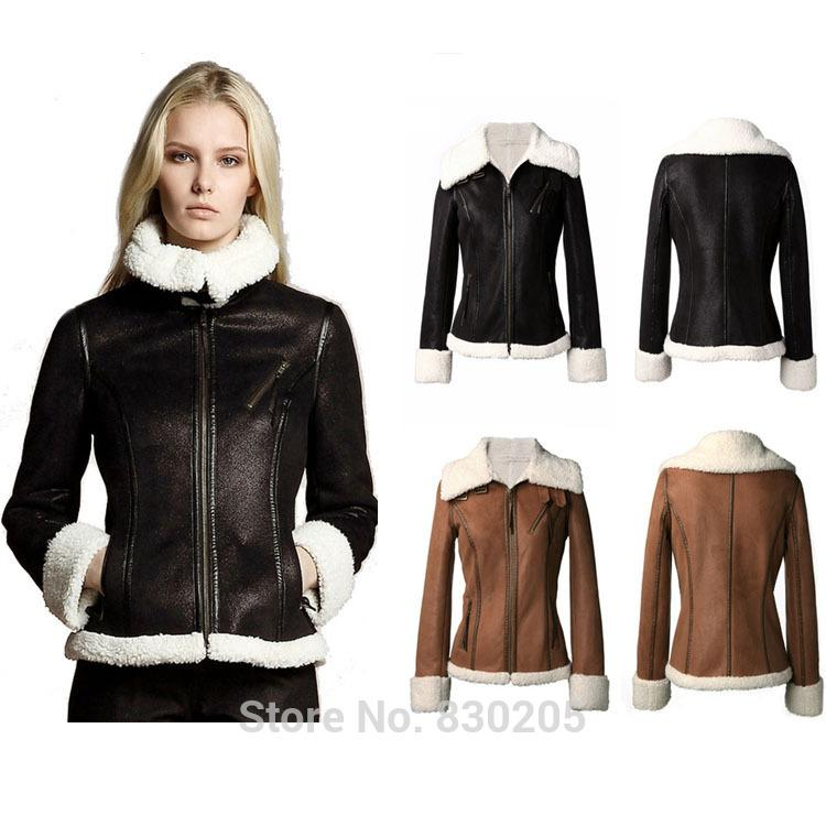 2014 Leather Jacket Women Motorcycle Leather Bomber Jacket Short ...