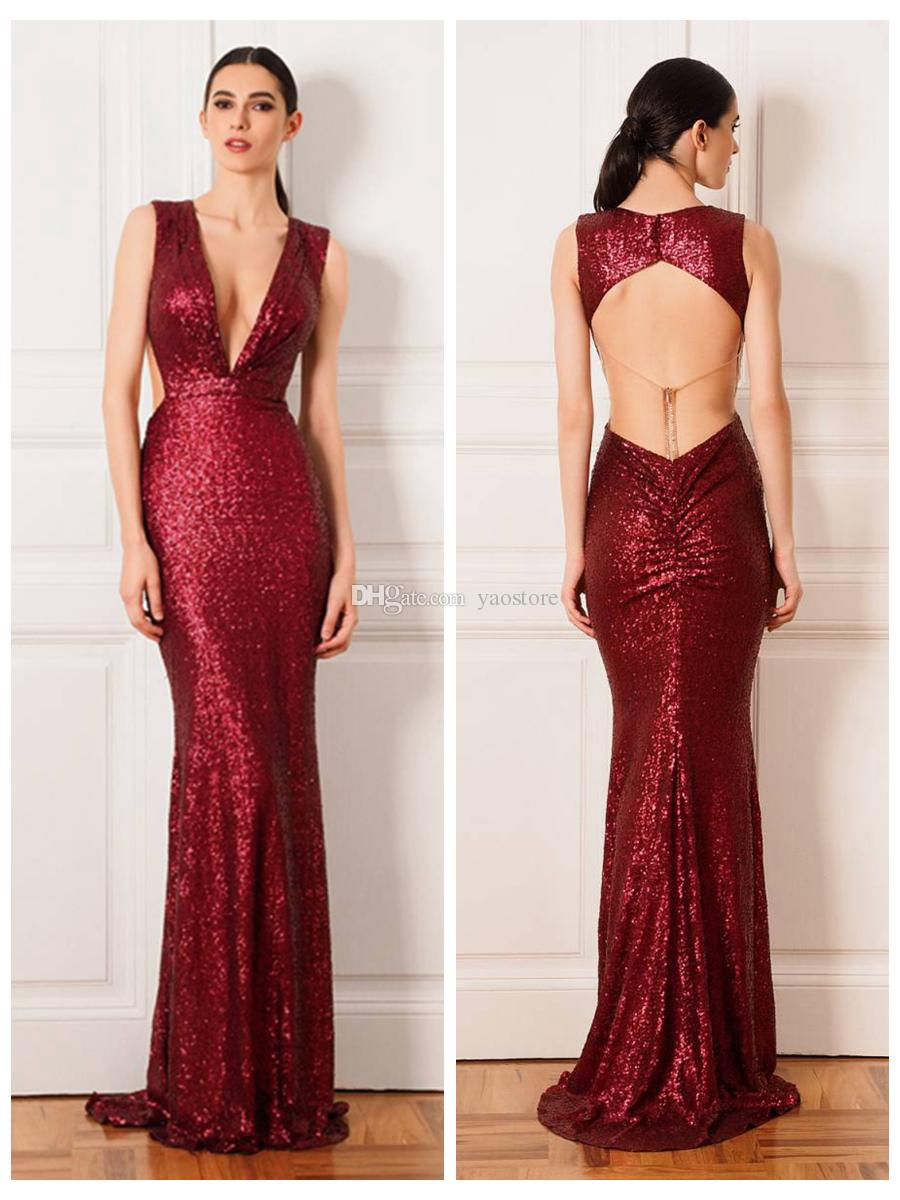 Cristallini 2016 Red Mermaid Evening Dresses Sexy Straps Deep V ...