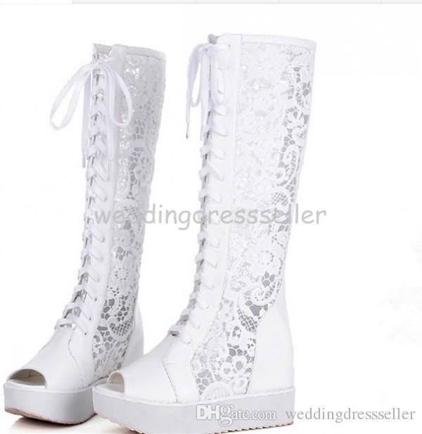 На складе 2015 Горячая роскошный белый высоком каблуке босоножки Свадебная обувь Свадебные сапоги свадебных туфли на