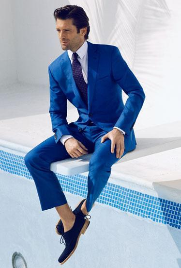 2015 Wedding Costume For Groom Royal Blue Mens Italian Designer