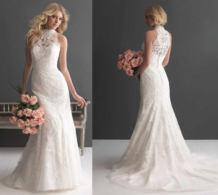 2016 new arrival high neck wedding dress sleeveless floral for Wedding dress with high collar