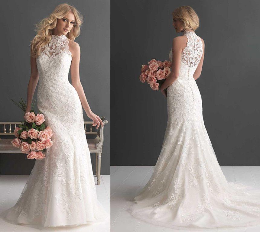 2016 new arrival high neck wedding dress sleeveless floral for Wedding dress high collar