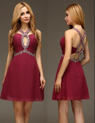 Sexy Short Prom Dresses A Line Burgundy Open Back Beaded Chiffon ...
