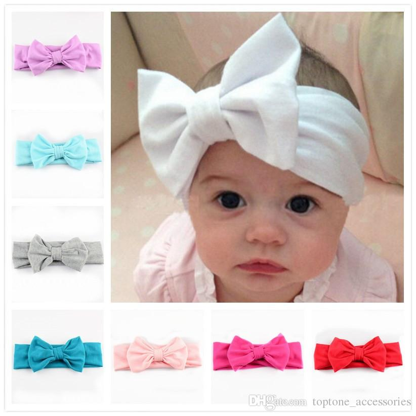 New Children Knitting Bow Tie Bandanas Girl Baby Cotton Headbands Accessoires po