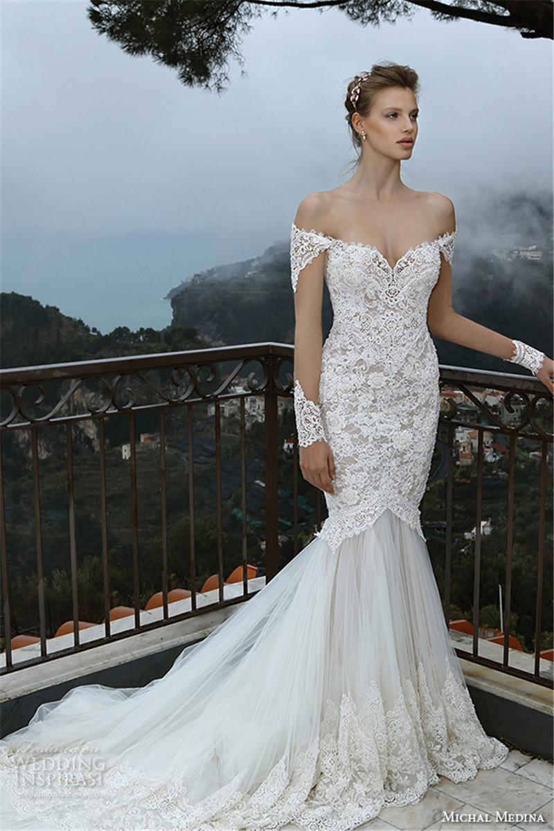 Michal medina 2016 off shoulder lace bridal dresses flora for Off the shoulder lace mermaid wedding dress