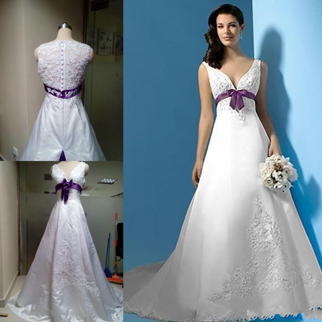 Discount 2015 white and purple wedding dresses v neck for White wedding dress with lavender