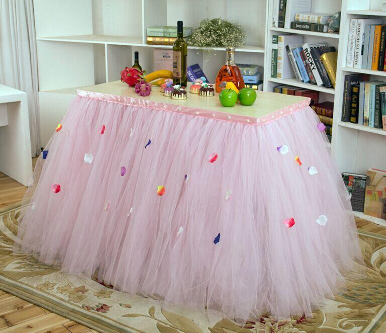 2017 Custom Made Tulle Tutu Wedding Table Skirt Flora Baby