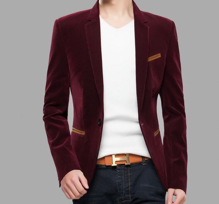 2016 New Casual Corduroy Suit Coat Male Korean Slim Small Suit ...
