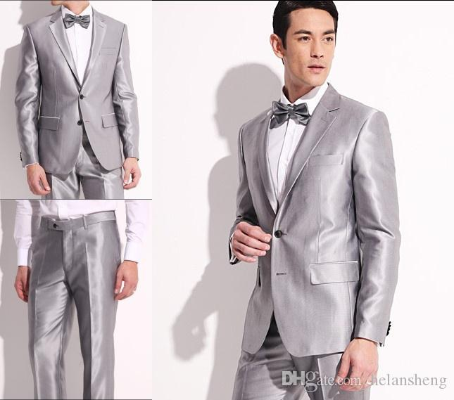 New Silver Men'S Dresses Groom Wear & Accessories Groom Suits