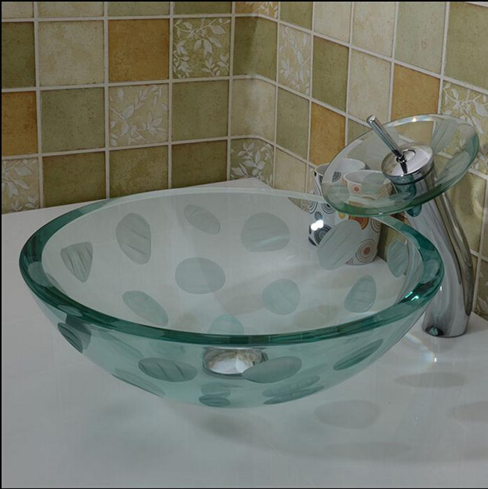Buy bathroom tempered glass sink handcraft counter top round basin wash basins cloakroom shampoo - Glass cloakroom basin ...
