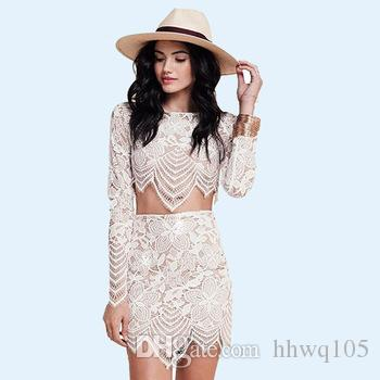 2017 Petite Lady Two Pieces Lace Dress Outfits Long Sleeve Crop ...