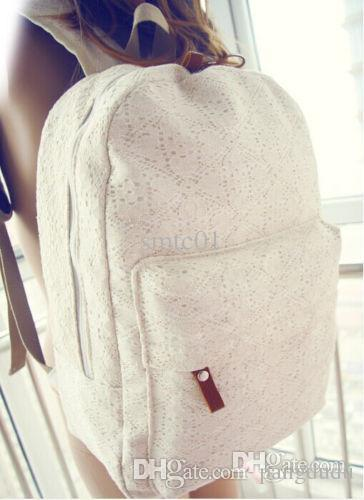 2015 New Sweet Canvas Lace Backpack Womens Schoolbag Campus Book ...