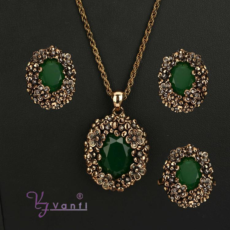 Vanfi Jewelry 2 Green Stone Handcrafted Wholesale