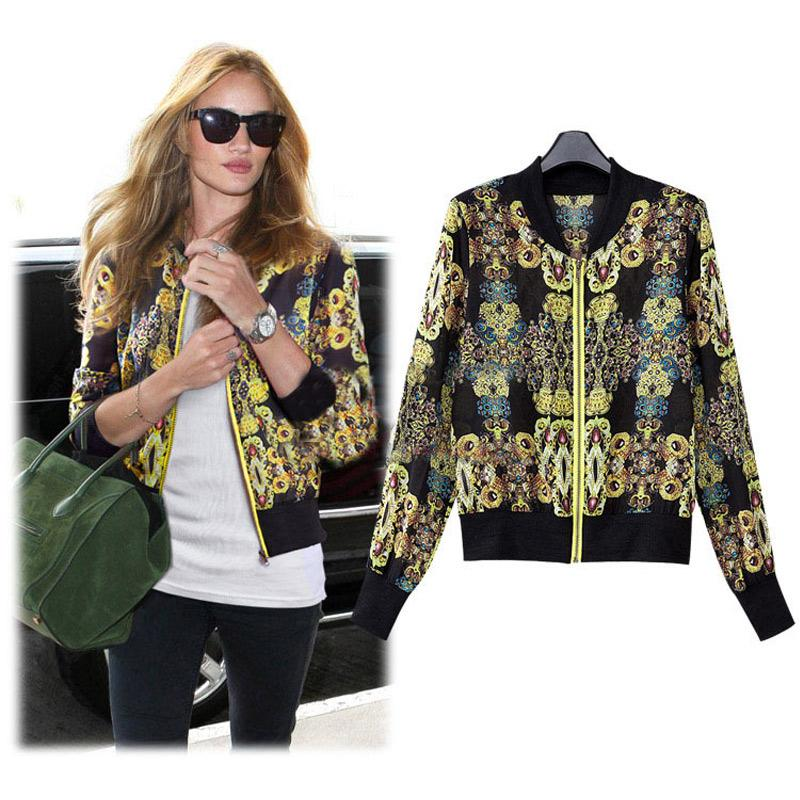 New Women Retro Bomber Jacket Floral Print Casaco Feminino Zipper