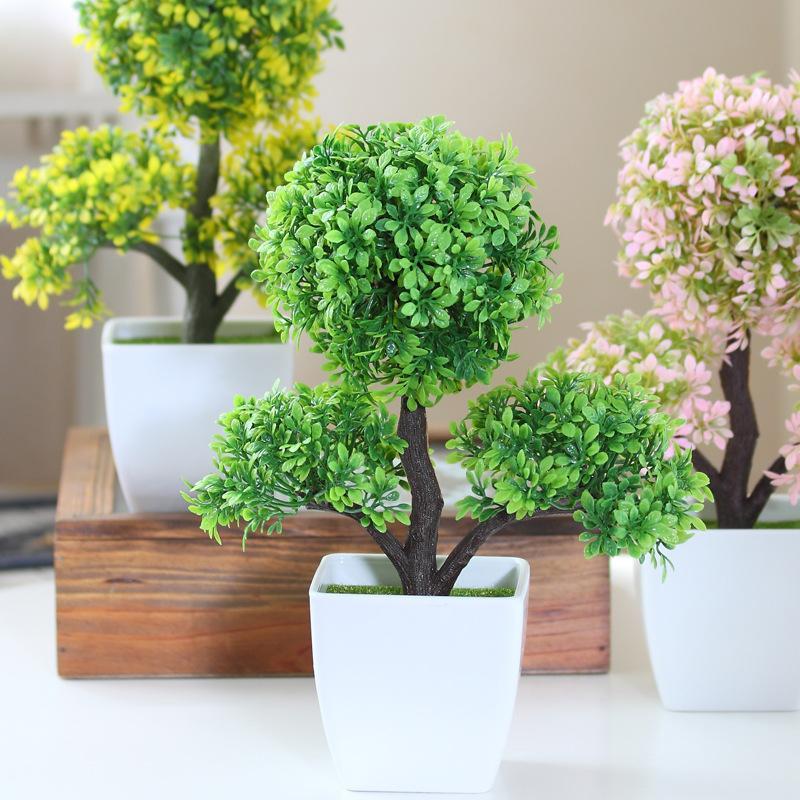 hyson shop home decoration artificial bonsai pot planter fake plants mini bonsai real touch simulation tree in plastic table decor artificial bonsai home