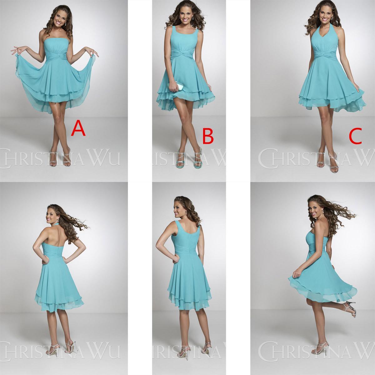 Under 60 short beach bridesmaid dresses halter neck pleat for Sky blue wedding guest dresses