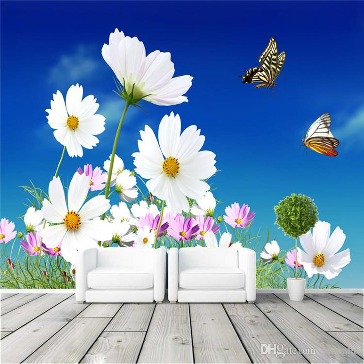 Daisy and butterfly photo wallpaper elegant wall mural for Butterfly mural wallpaper