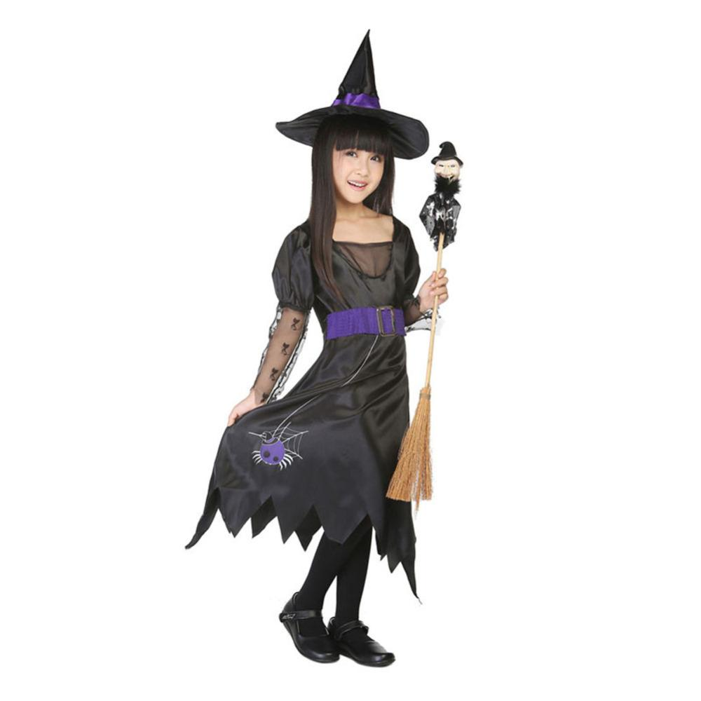 2015 Girls Halloween Fancy Dress With Hat Old Witch Costume Suit ...