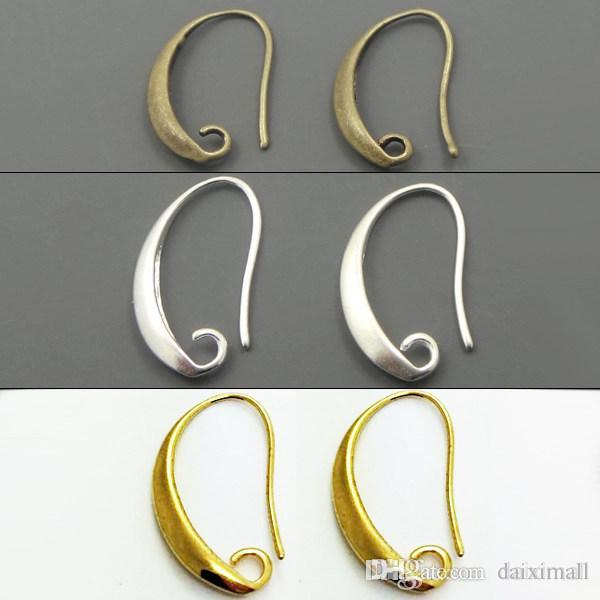 Grossiste-100pcs / lot Antique Bronze / Argent / or plaqué oreille Hook Boucle d
