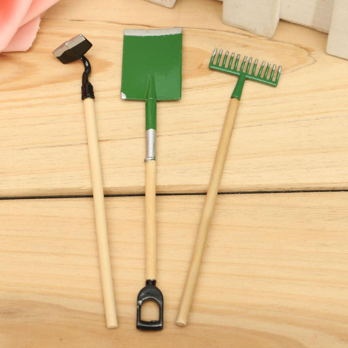 Hot Sale 1 12 Scale Three Small Garden Tools Set Spade Rake Shed Outdoor Gardening  Dolls House Miniature Accessory Plastic Dollhouse Furniture Sets Barbie. Hot Sale 1 12 Scale Three Small Garden Tools Set Spade Rake Shed