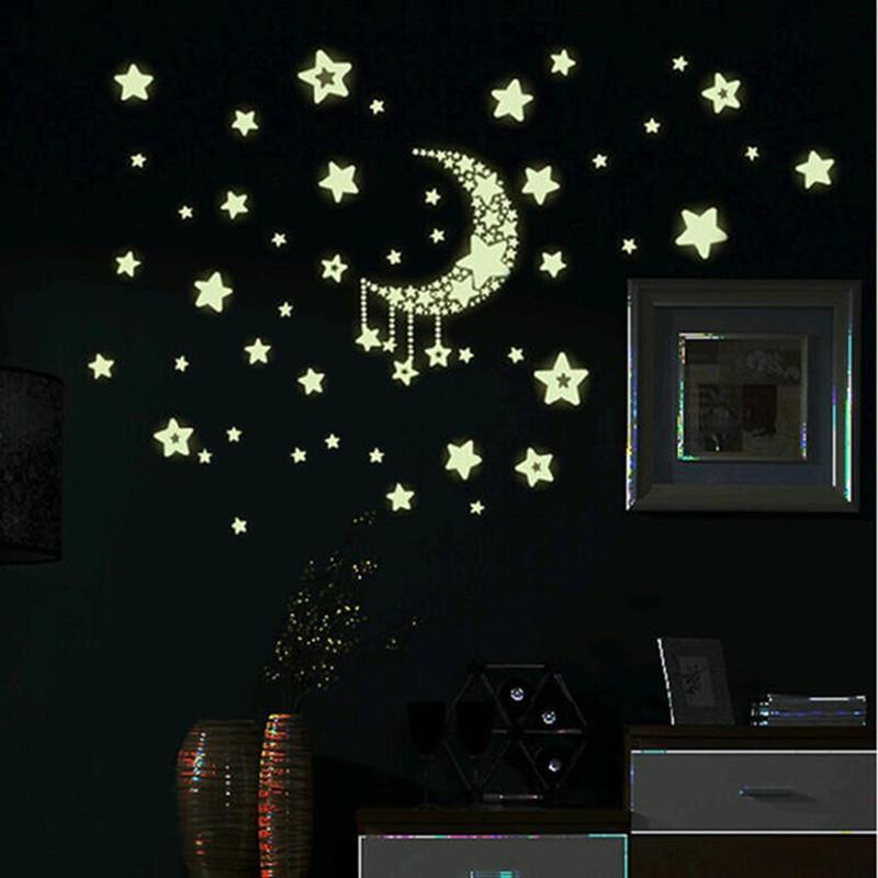 3d Glow In The Dark Star Moon Luminous Decal Sticker Kid Bedroom Baby Nursery Room Home Wall ...