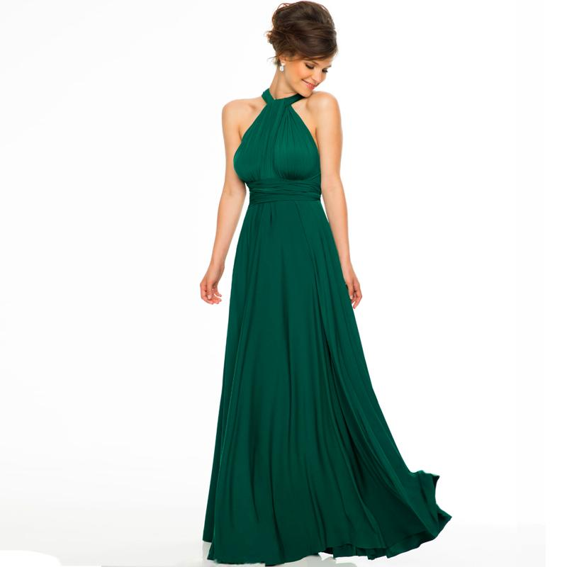 Sexy Halter Top Long Chiffon Emerald Green Bridesmaid Dresses 2015 ...