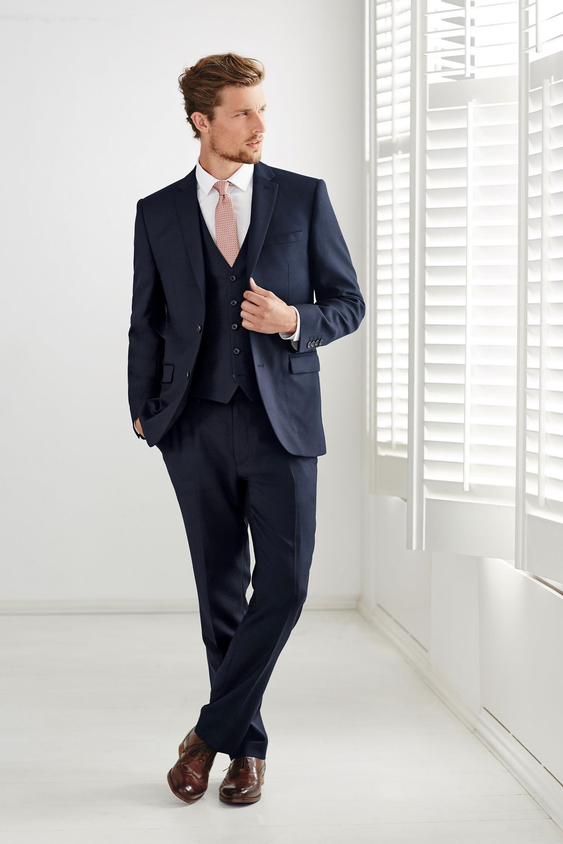2015 Navy Blue Wedding Suits For Men Notched Lapel Mens Suits