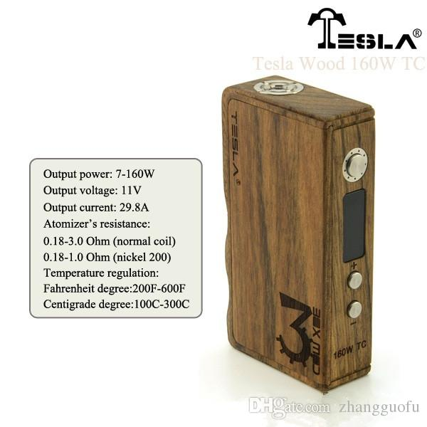 2015 newest tesla 160w wood tc box mod temperature control 200 2015 newest tesla 160w wood tc box mod temperature control 200 600f 7w 160w 100% original tesla vv vw ecig vaporizer dhl tesla wood 160w tc box mod