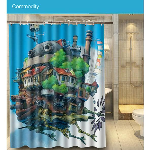 2017 Top Quality Fabric Waterproof Bathroom Anime Howl S Moving Castle  Custom 180x160cm Shower Curtain Polyester Bath Curtain From Coolsupplier. 2017 Top Quality Fabric Waterproof Bathroom Anime Howl S Moving