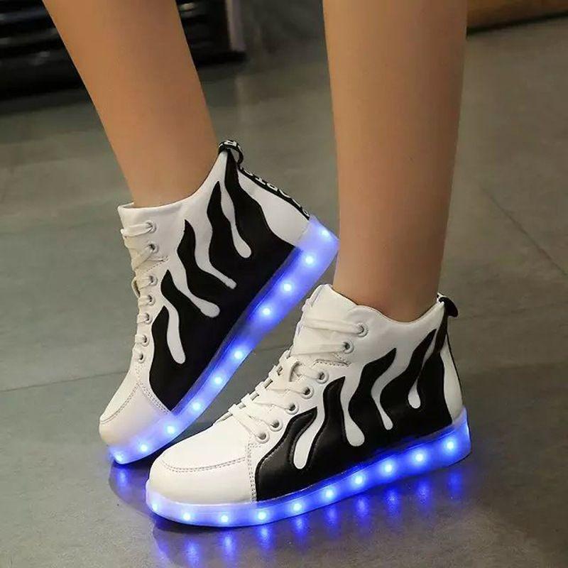 Korean Style Women Led Shoes Glowing Flats For Girls Casual Walking Usb Luminous Light Up