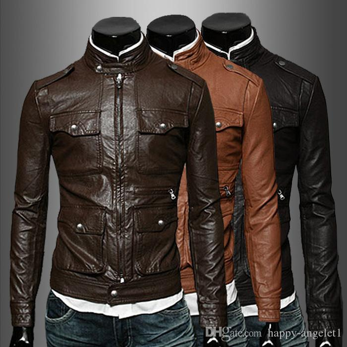 2015 New Arrive Men's Leather Jacket Motorcycle Men's Coats Stand ...